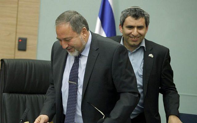 Yisrael Beytenu Avigdor Liberman (left) and Likud MK Zeev Elkin on February 13, 2103. (photo credit: Flash90)