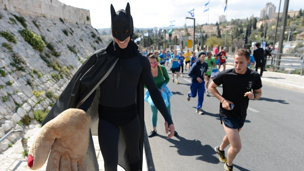 Even Batman took part in the fun (photo credit: Flash90)