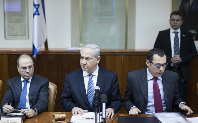 Prime Minister Benjamin Netanyahu speaks at the weekly cabinet meeting at the Prime Minister's Office in Jerusalem (photo credit: Yonatan Sindel/Flash90)