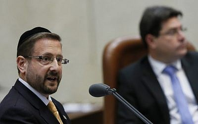 MK Dov Lipman during an assembly session in the plenum hall at the Knesset, March 06, 2013 (photo credit: Miriam Alster/Flash90)