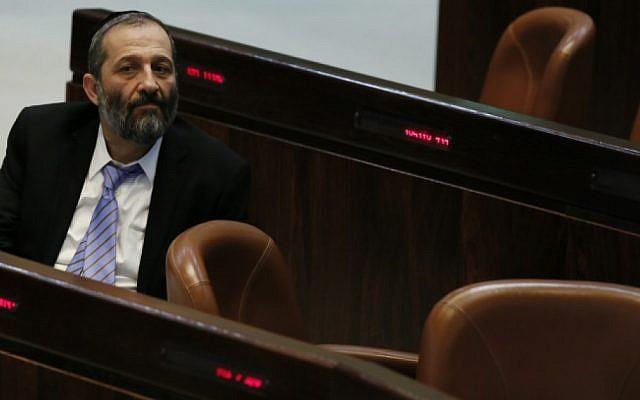 Aryeh Deri in the Knesset (photo credit: Miriam Alster/Flash90)