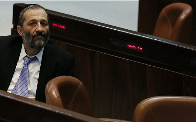 MK Aryeh Deri (Shas) seen during an assembly session in the plenum hall at the Knesset, March, 2013. (photo credit: Miriam Alster/FLASH90)