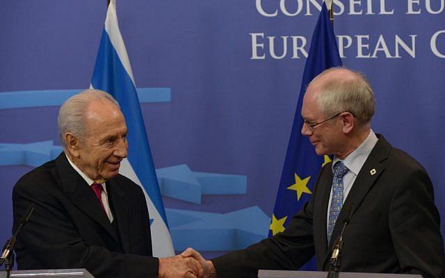 Shimon Peres and Herman Van Rompuy in Brussels Wednesday. (photo credit: Moshe Milner/GPO/Flash90)