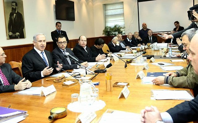 Prime Minister Benjamin Netanyahu opens the weekly Cabinet meeting, likely the last of the 2009-2013 government (photo credit: Miriam Alster/Flash90)