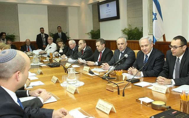 Ministers take part in a weekly Cabinet meeting at the Prime Minister's Office (photo credit: Miriam Alster/Flash90)