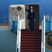 President Barack Obama waves as he arrives at Ben Gurion Airport on March 20 2013. (photo credit: Kobi Gideon/GPO / FLASH90)