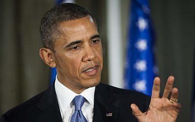 US President Barack Obama addresses reporters at a press conference Wednesday evening (photo credit: Yonatan Sindel/Flash90)