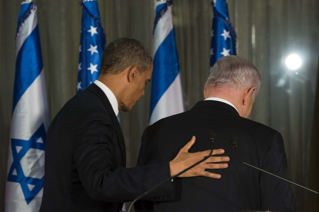 Israel's Prime Minister Benjamin Netanyahu and US President Barack Obama end their press conference in Jerusalem on March 20, 2013. (Photo credit: Yonatan Sindel/Flash90)