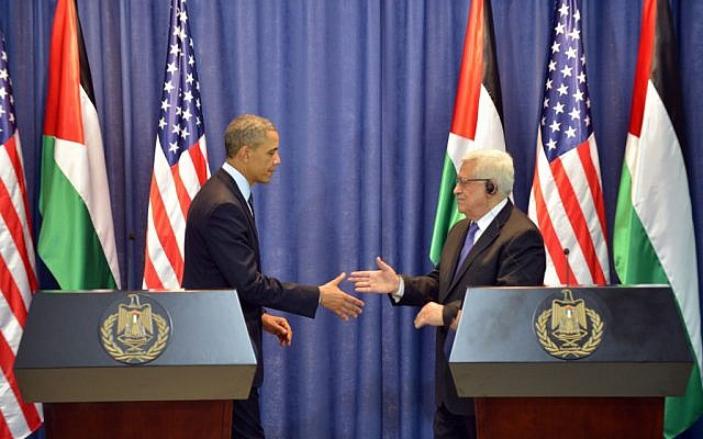 US President Barack Obama and Palestinian Authority President Mahmoud Abbas during a joint press conference in Ramallah in March 2013. (photo credit: Issam Rimawi/Flash90).