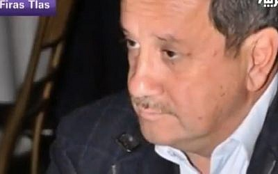 Syrian business tycoon Firas Tlass (photo credit: Youtube image)