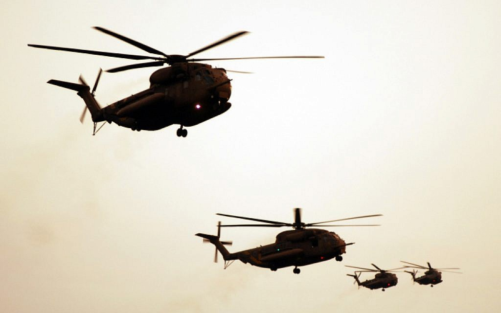 In this file photo, IDF helicopters are seen flying over Israeli skies. (photo credit: Abir Sultan/Flash90)