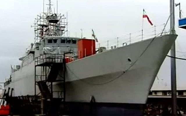 Iran's Jamaran-2 destroyer docked at a shipyard ahead of deployment (photo credit: image capture YouTube)