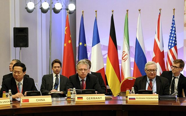 Negotiators from China, Germany and Russia at the P5+1 talks in Almaty in March. (photo credit: AP/Ilyas Omarov, Pool)
