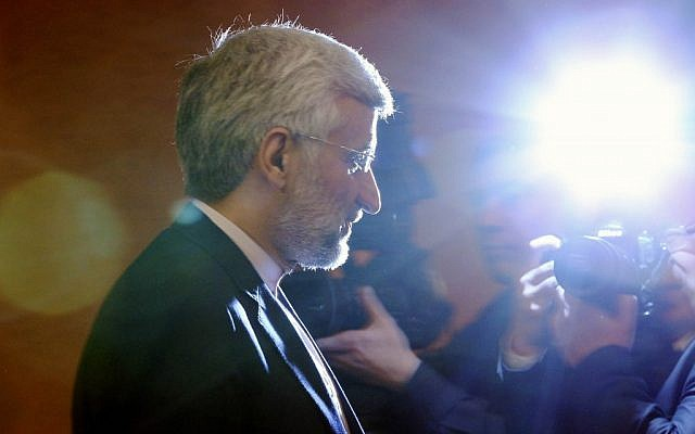 Chief Iranian nuclear negotiator Saeed Jalili leaving a press conference in Kazakhstan. (photo credit: AP/Pavel Mikheyev)