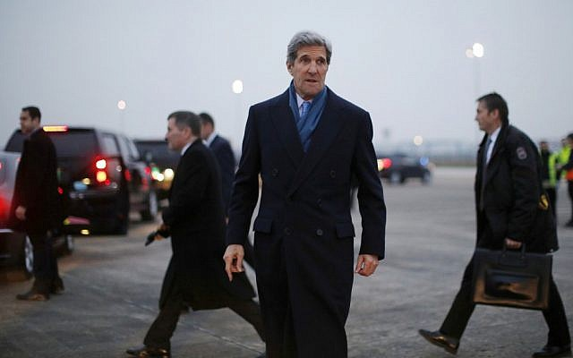 US Secretary of State John Kerry arrives in Paris ahead of his return to the United States, on Tuesday, March 26, 2013. (photo credit: AP Photo/Jason Reed, Pool)