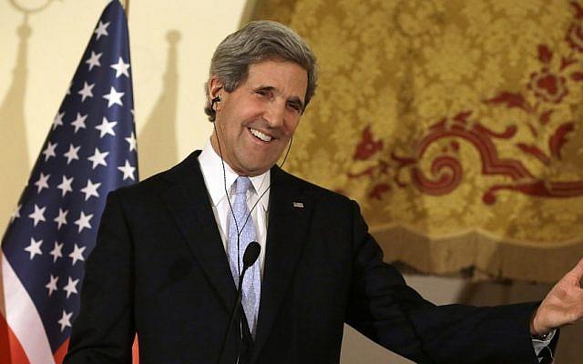 US Secretary of State John Kerry speaks at a news conference at Ankara Palace in Ankara, Turkey, March 1, 2013 (photo credit: AP/Jacquelyn Martin)