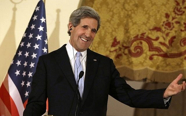 US Secretary of State John Kerry speaks at a news conference at Ankara Palace in Ankara, Turkey, March 1, 2013 (photo credit: AP/Jacquelyn Martin, Pool)