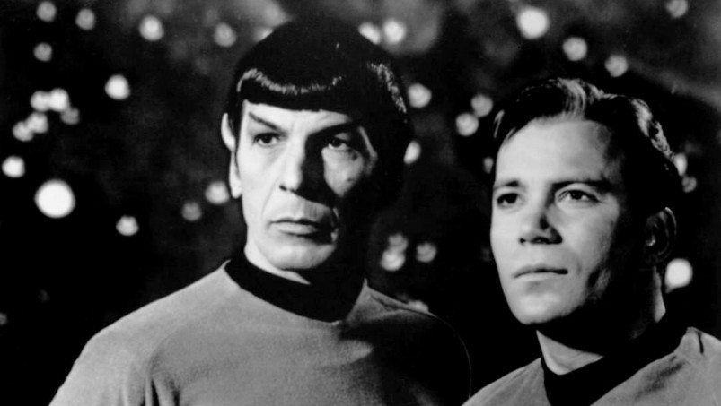 Leonard Nimoy (left) and William Shatner in a 'Star Trek' poster, 1968 (photo credit: Wikimedia Commons)