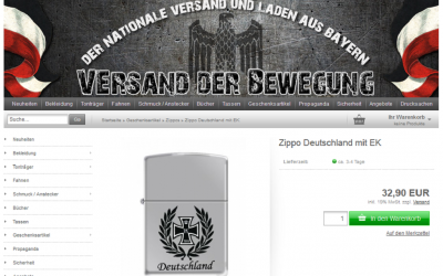 Zippo will no longer produce lighters with the iron cross and other images that have been adopted by German extremists. (Versand der Bewegung screenshot)