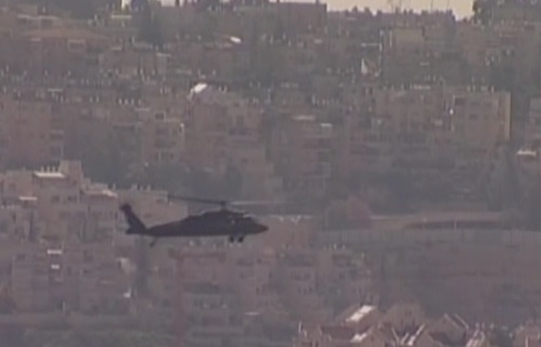 Marine One flies over Jerusalem on Wednesday, March 20 (image capture Channel 2)