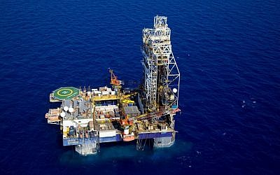 The Tamar Lease natural gas rig, located 90 kilometers west of the city of Haifa, northern Israel. (photo credit: AP/Albatross Aerial Perspective)