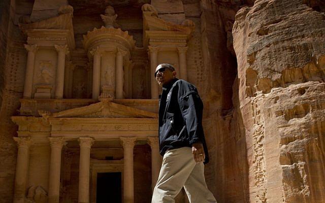 US President Barack Obama tours the Treasury in the ancient city of Petra, Jordan, Saturday. (AP Photo/Pablo Martinez Monsivais)