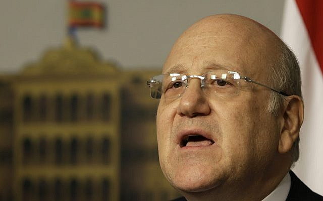 Lebanese Prime Minister Najib Mikati announces his resignation at the government palace, in Beirut, Lebanon, Friday, March 22, 2013. (photo credit: AP/Hussein Malla)