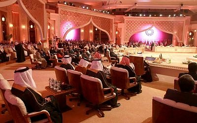 View of the Arab League summit in Doha, Qatar, in March (photo credit: AP/Ghiath Mohamad)