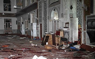 Illustrative photo of the Eman Mosque in Damascus, destroyed by a suicide bomber in March, 2013  (photo credit: AP/SANA)