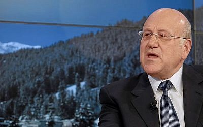 Lebanese Prime Minister Najib Mikati speaks during a session of the World Economic Forum in Davos, Switzerland, in January (photo credit: Wikimedia Commons/World Economic Forum)