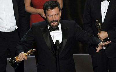 "Director and producer Ben Affleck accepts the award for best picture for ""Argo"" during the Oscars at the Dolby Theatre, in Los Angeles, Sunday Feb. 24, 2013. ""Argo"" mentions New Zealand just once in passing, but the four-word reference is rankling Kiwis five months after the Oscar-winning film was released in the South Pacific nation. (photo credit: Chris Pizzello/Invision)"