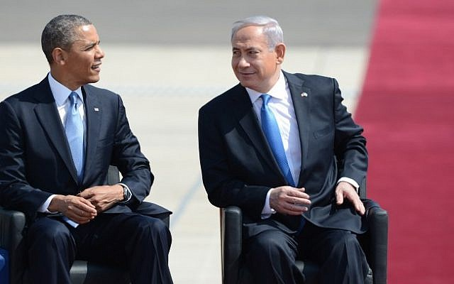 Prime Minister Benjamin Netanyahu with US President Barack Obama at the welcoming ceremony in honor of the president's visit. (Photo credit: Kobi Gideon/GPO/Flash90)
