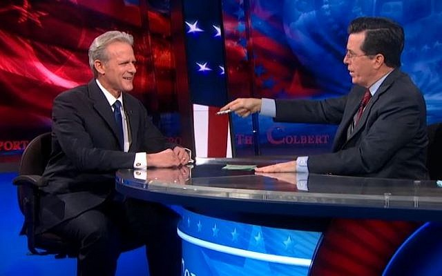 Michael Oren and Stephen Colbert on the Colbert Report, March 5, 2013 (photo credit: screen capture/Comedy Central)