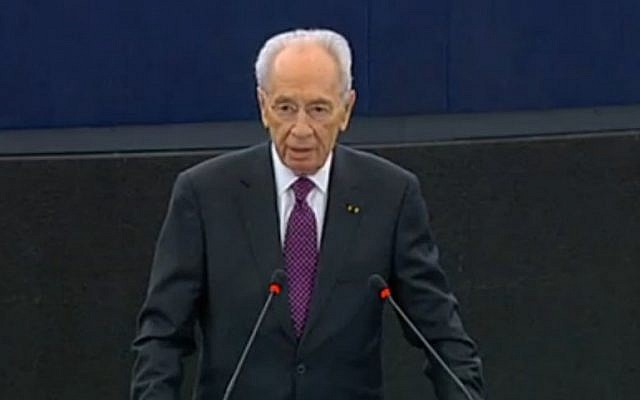 Shimon Peres addresses the European Parliament, March 12 (photo credit: EU screenshot)