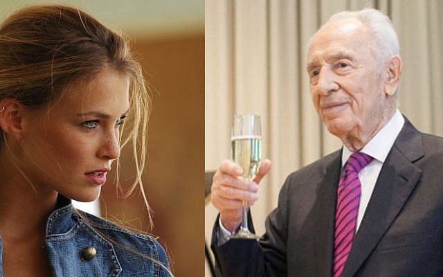 A compilation photo of President Shimon Peres and model Bar Refaeli (photo credit Flash90)