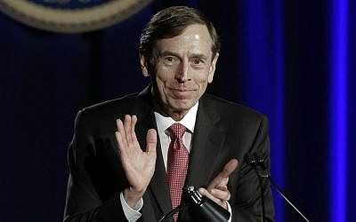 Former CIA chief David H. Petraeus speaks at the annual dinner for veterans and ROTC students at the University of Southern California, in downtown Los Angeles Tuesday, March 26 (photo credit: AP/Reed Saxon)