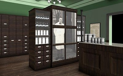 An image of Tadeusz Pankiewicz adorns a display in Krakow's newly refurbished Pharmacy Under the Eagle. (Courtesy of Monika Bednarek/Historical Museum of Krakow)
