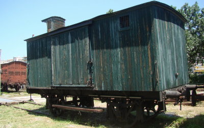 Thessaloniki's Jews were deported to Auschwitz-Birkenau in railway cars like this one, currently on display at the city's Railway Museum. (Gavin Rabinowitz/JTA)
