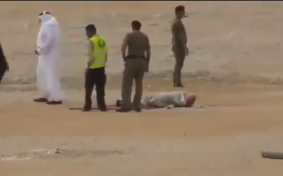 The scene of an alleged execution in Saudi Arabia, posted on YouTube in late February (photo credit: YouTube screenshot)