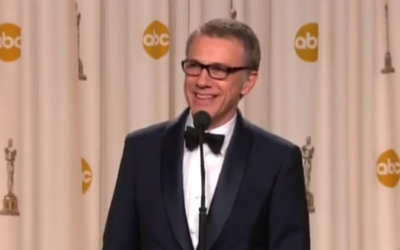 Christoph Waltz being interviewed after his Oscar win last month. (photo credit: YouTube screenshot)