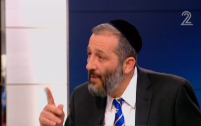 Shas leader Aryeh Deri speaks on Channel 2. (photo credit:  image capture from Channel 2)