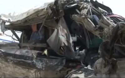 Scene of the Jordan bus crash, March 16 (photo credit: YouTube screenshot)