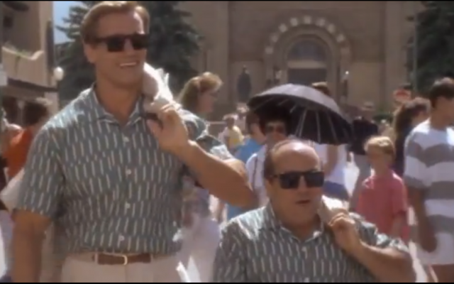 "Arnold Schwarzenegger, left, and Danny DeVito in ""Twins"" (photo credit: YouTube screenshot)"