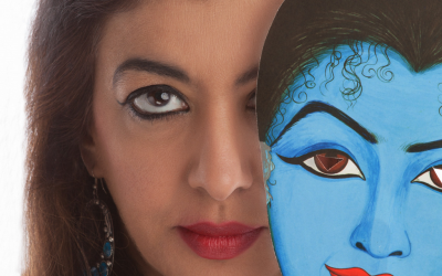 Siona Benjamin paints women from the bible, often using blue as a nod to her Indian roots. (Siona Benjamin via JTA)