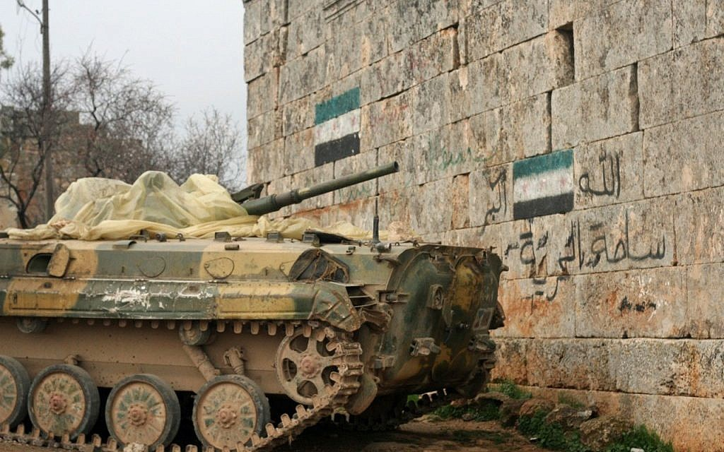 Free Syrian Army tank near the Turkish border (photo: Eliyahu Kamisher)