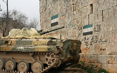 Free Syrian Army tank near the Turkish border (photo: Eliyahu Kamisher)