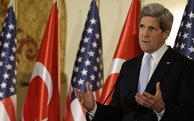 US Secretary of State John Kerry speaks at a news conference in Ankara, Turkey, on Friday (photo credit: Jacquelyn Martin/AP)