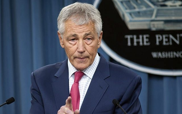 US Defense Secretary Chuck Hagel speaks during a news conference at the Pentagon, March 16, 2013 (photo credit: AP Photo/Cliff Owen)