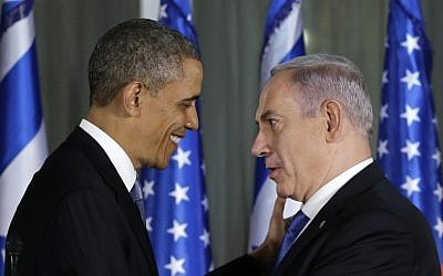 US President Barack Obama and Prime Minister Benjamin Netanyahu at a joint news conference, March 20, 2013. (photo credit: AP/Carolyn Kaster)
