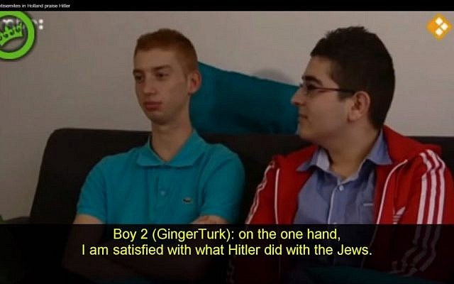 Teenage Muslims in Holland are 'satisfied with what Hitler did with the Jews' (photo credit: screen capture Ban Koran/Youtube)